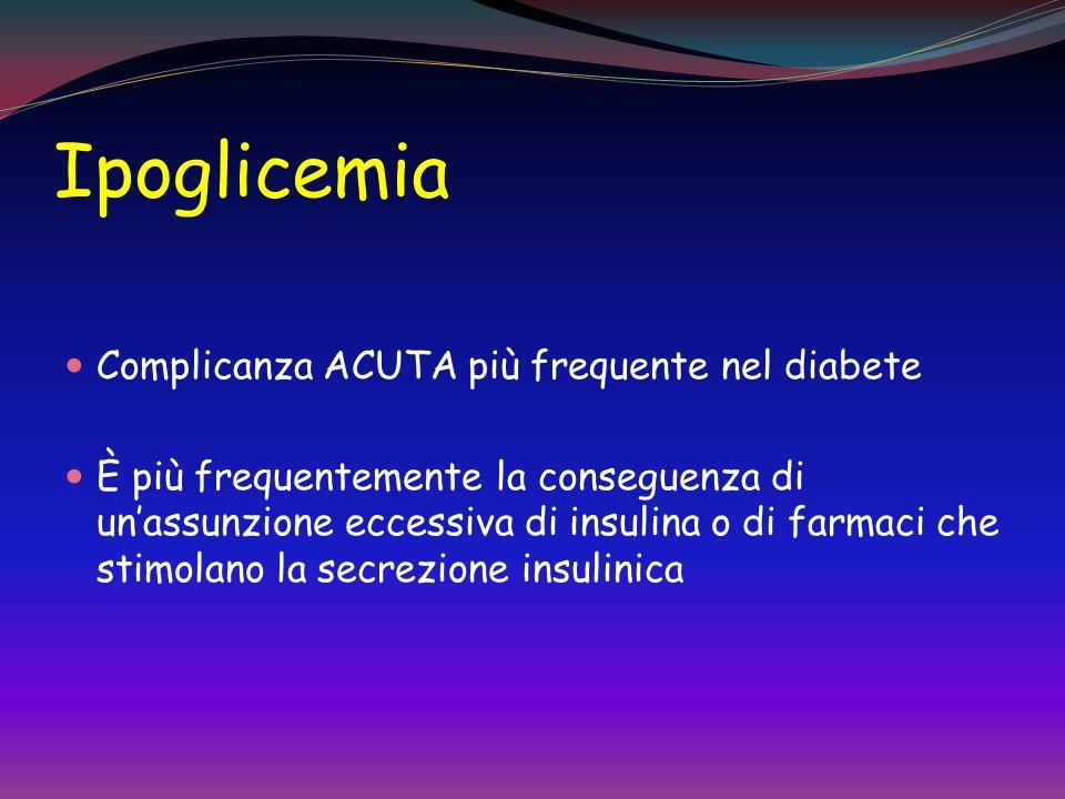 Ipoglicemia Complicanza ACUTA più frequente nel diabete