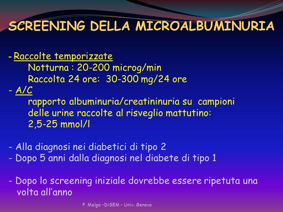 SCREENING DELLA MICROALBUMINURIA