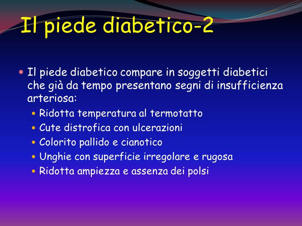Il piede diabetico-2 Il piede diabetico compare in soggetti diabetici che già da tempo presentano segni di insufficienza arteriosa: