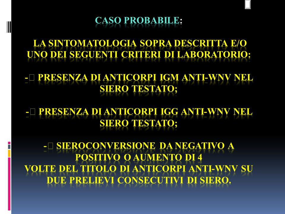 CASO PROBABILE: la sintomatologia sopra descritta e/o uno dei seguenti criteri di laboratorio: - presenza di anticorpi IgM anti-WNV nel siero testato; - presenza di anticorpi IgG anti-WNV nel siero testato; - sieroconversione da negativo a positivo o aumento di 4 volte del titolo di anticorpi anti-WNV su due prelievi consecutivi di siero.
