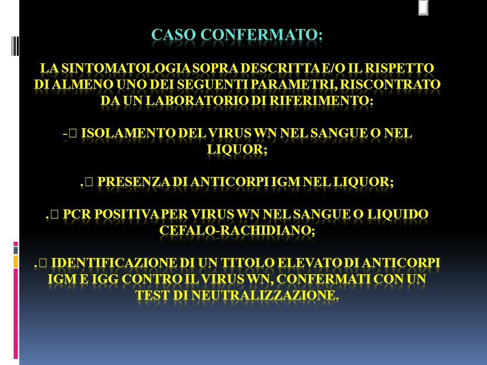 CASO CONFERMATO: la sintomatologia sopra descritta e/o il rispetto di almeno uno dei seguenti parametri, riscontrato da un laboratorio di riferimento: - isolamento del virus WN nel sangue o nel liquor; . presenza di anticorpi IgM nel liquor; . PCR positiva per virus WN nel sangue o liquido cefalo-rachidiano; . identificazione di un titolo elevato di anticorpi IgM e IgG contro il virus WN, confermati con un test di neutralizzazione.