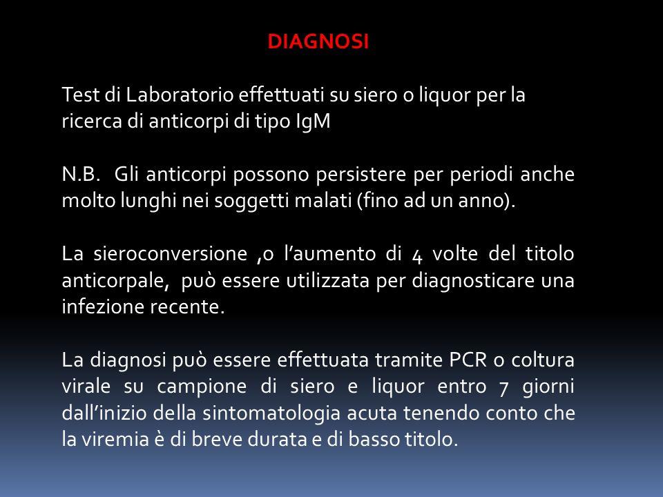 DIAGNOSI Test di Laboratorio effettuati su siero o liquor per la ricerca di anticorpi di tipo IgM.