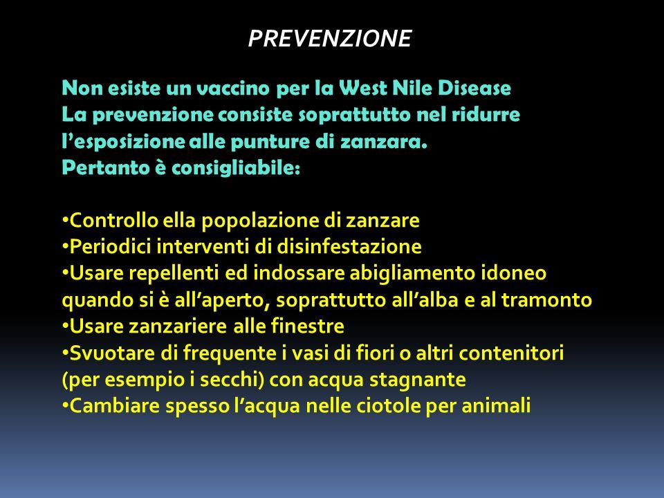PREVENZIONE Non esiste un vaccino per la West Nile Disease
