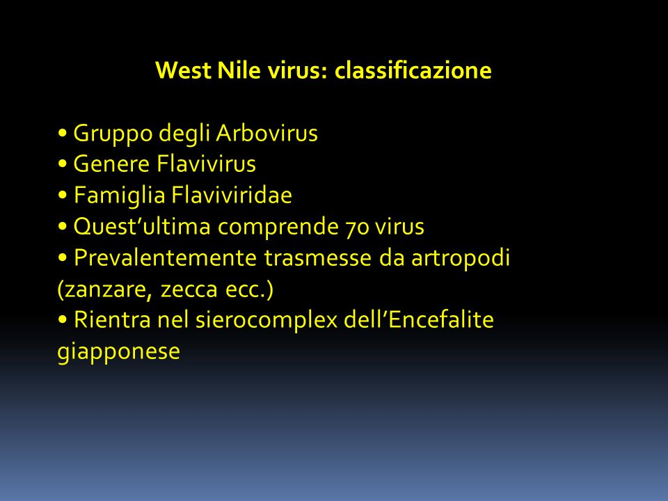 West Nile virus: classificazione