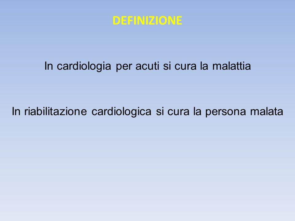 DEFINIZIONE In cardiologia per acuti si cura la malattia