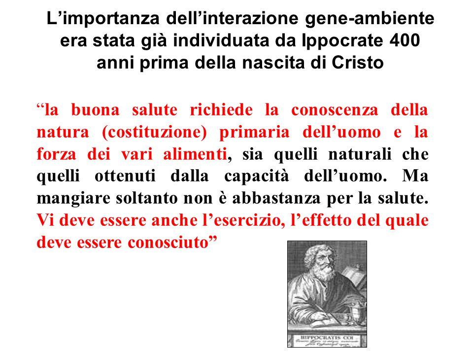 L'importanza dell'interazione gene-ambiente era stata già individuata da Ippocrate 400 anni prima della nascita di Cristo
