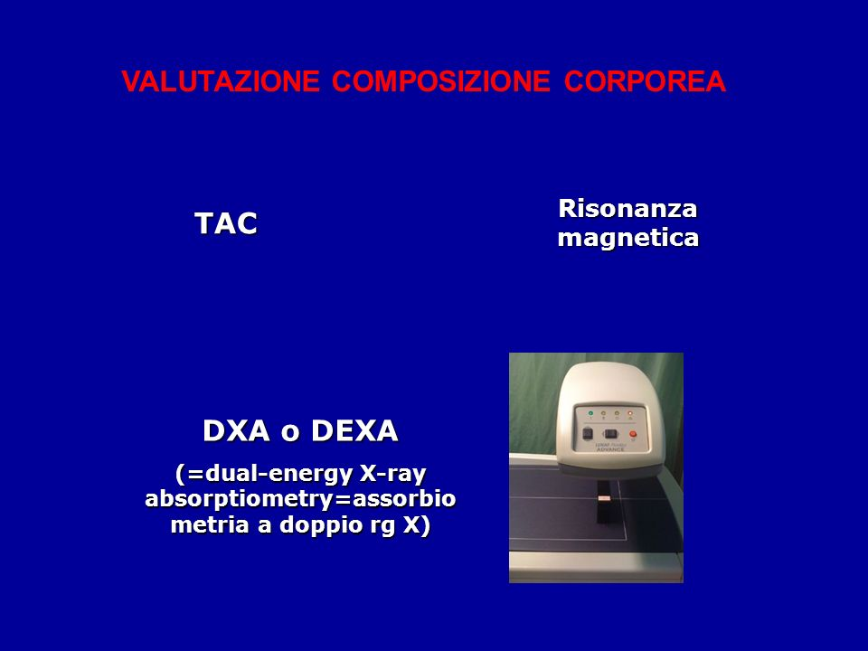 (=dual-energy X-ray absorptiometry=assorbiometria a doppio rg X)