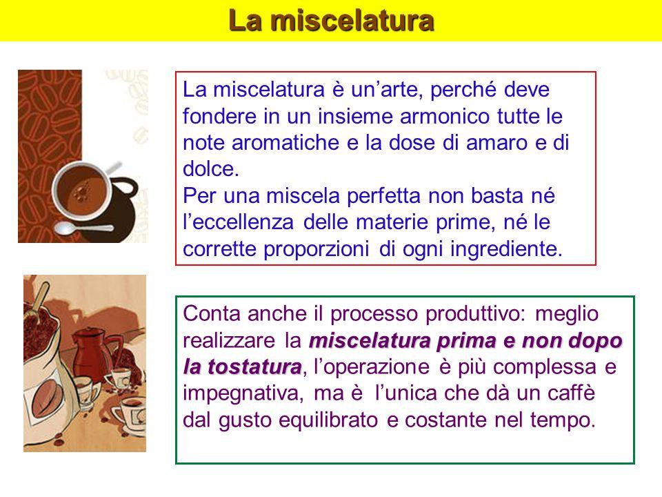 La miscelatura La miscelatura è un'arte, perché deve fondere in un insieme armonico tutte le note aromatiche e la dose di amaro e di dolce.
