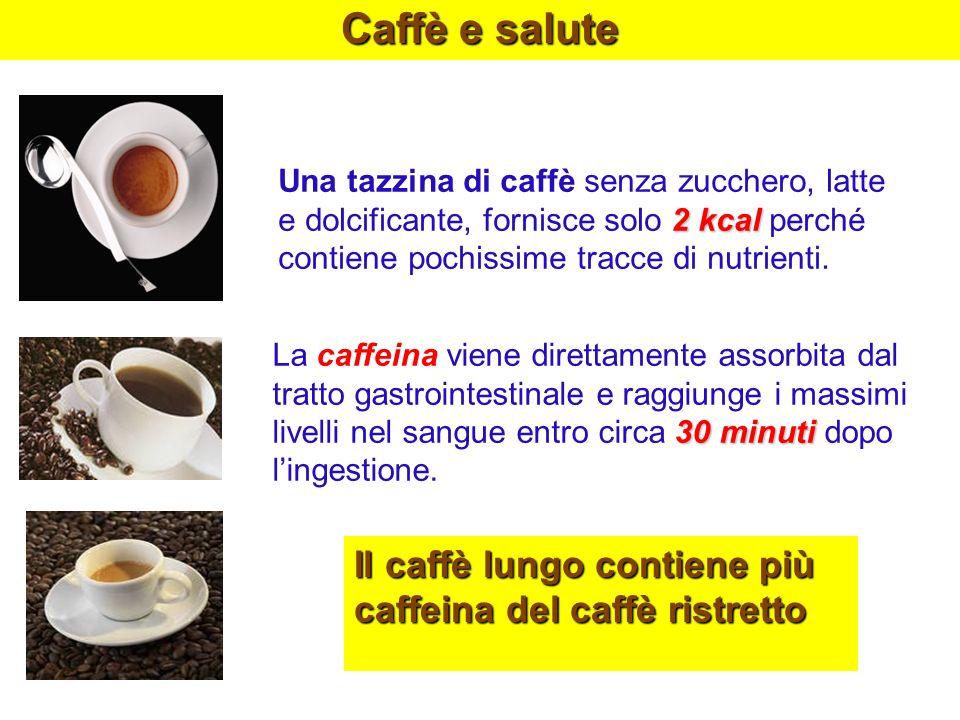 Caffè e saluteUna tazzina di caffè senza zucchero, latte e dolcificante, fornisce solo 2 kcal perché contiene pochissime tracce di nutrienti.
