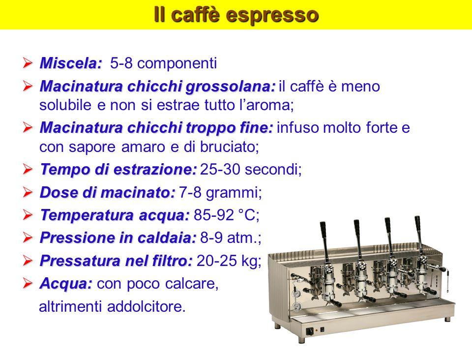 Il caffè espresso Miscela: 5-8 componenti