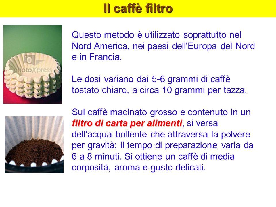 Il caffè filtro Questo metodo è utilizzato soprattutto nel Nord America, nei paesi dell Europa del Nord e in Francia.