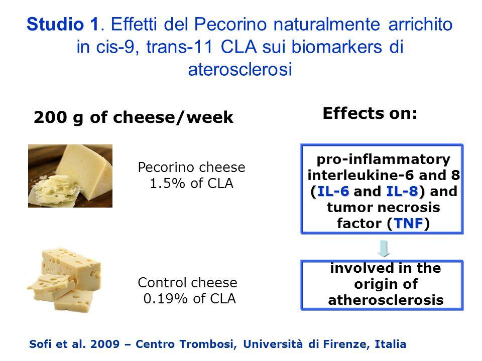 Studio 1. Effetti del Pecorino naturalmente arrichito in cis-9, trans-11 CLA sui biomarkers di aterosclerosi
