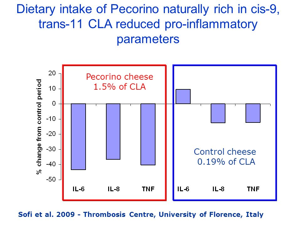 Dietary intake of Pecorino naturally rich in cis-9, trans-11 CLA reduced pro-inflammatory parameters