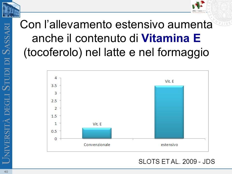 Con l'allevamento estensivo aumenta anche il contenuto di Vitamina E (tocoferolo) nel latte e nel formaggio