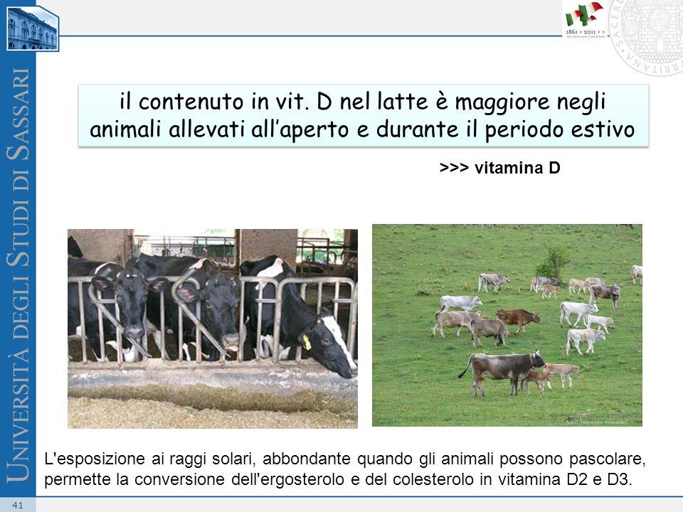 il contenuto in vit. D nel latte è maggiore negli animali allevati all'aperto e durante il periodo estivo