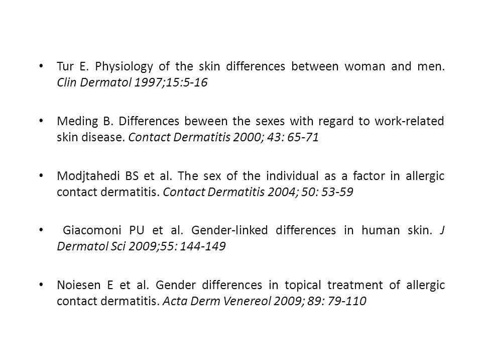 Tur E. Physiology of the skin differences between woman and men