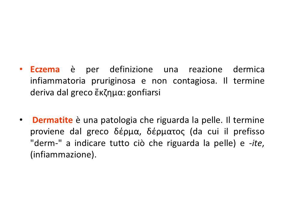 Eczema è per definizione una reazione dermica infiammatoria pruriginosa e non contagiosa. Il termine deriva dal greco ἔκζημα: gonfiarsi