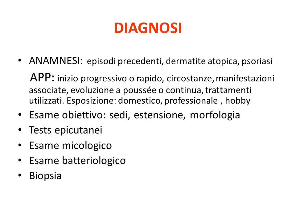 DIAGNOSI ANAMNESI: episodi precedenti, dermatite atopica, psoriasi.