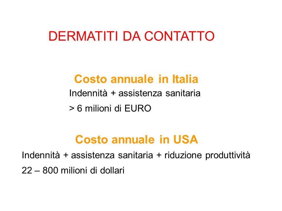 DERMATITI DA CONTATTO Costo annuale in Italia Costo annuale in USA