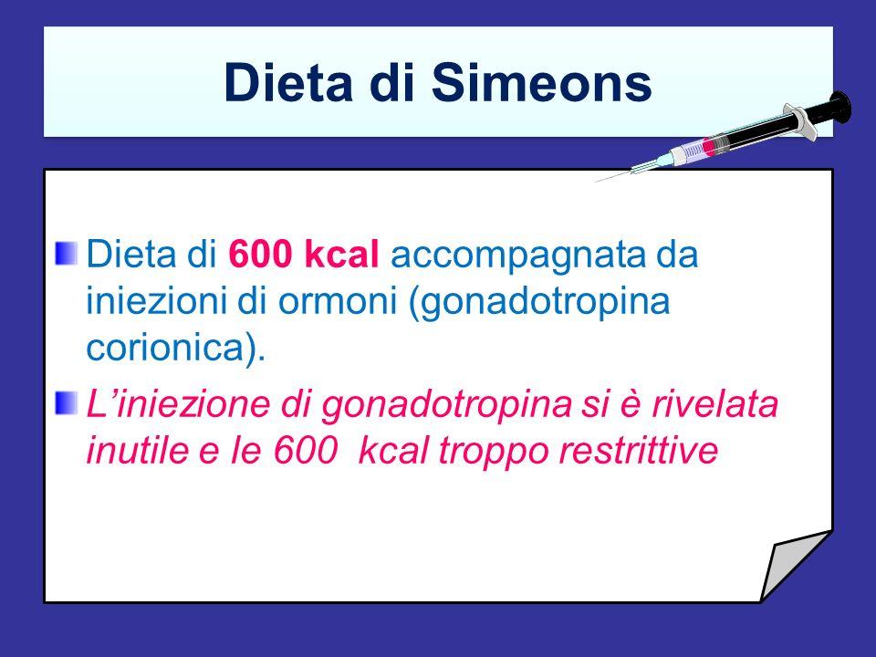 Dieta di SimeonsDieta di 600 kcal accompagnata da iniezioni di ormoni (gonadotropina corionica).