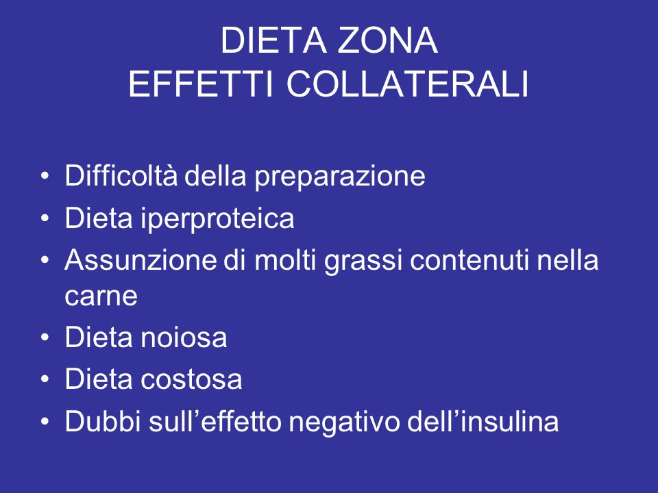 DIETA ZONA EFFETTI COLLATERALI