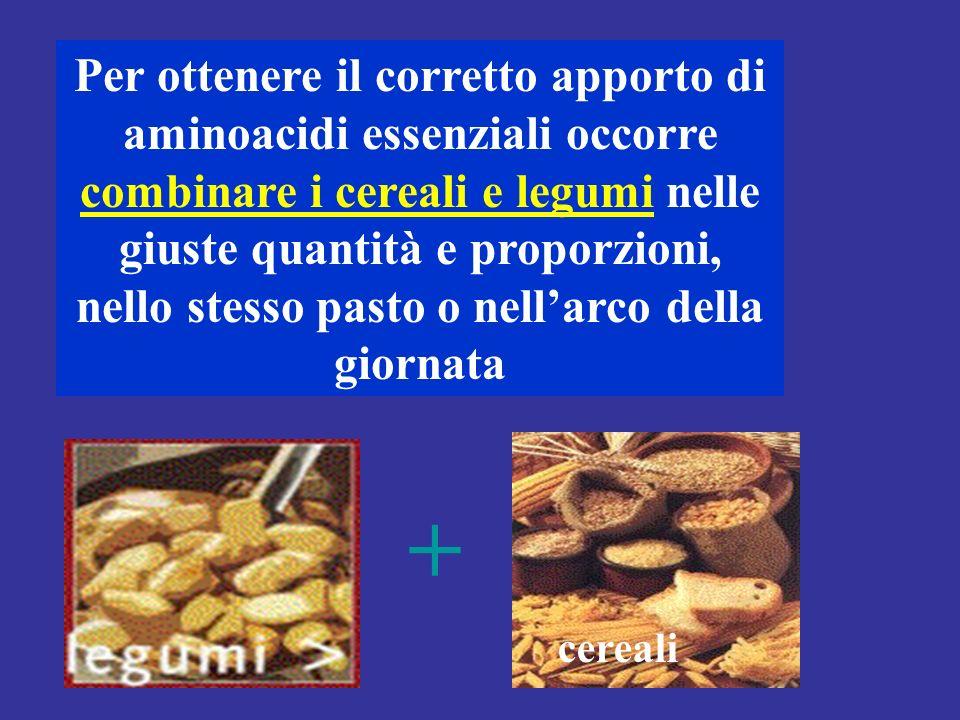 Per ottenere il corretto apporto di aminoacidi essenziali occorre combinare i cereali e legumi nelle giuste quantità e proporzioni, nello stesso pasto o nell'arco della giornata