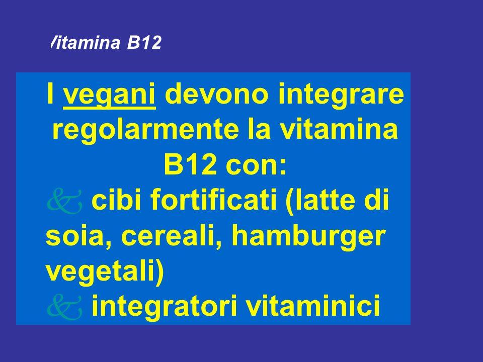 I vegani devono integrare regolarmente la vitamina B12 con: