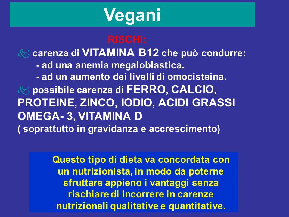 Vegani RISCHI: carenza di VITAMINA B12 che può condurre: