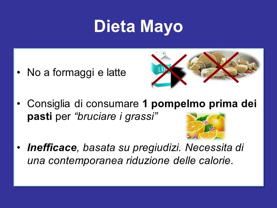 Dieta Mayo No a formaggi e latte