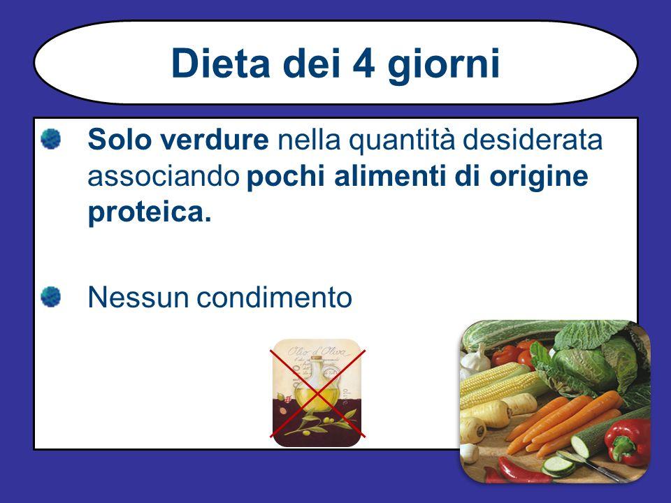 Dieta dei 4 giorniSolo verdure nella quantità desiderata associando pochi alimenti di origine proteica.