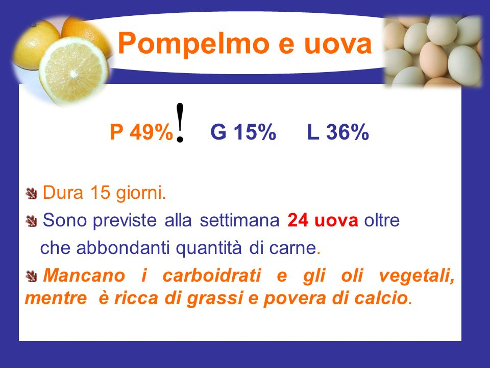 Pompelmo e uova P 49% G 15% L 36% Dura 15 giorni.