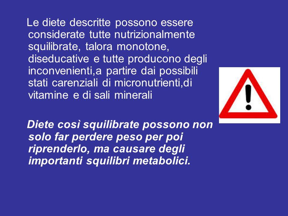 Le diete descritte possono essere considerate tutte nutrizionalmente squilibrate, talora monotone, diseducative e tutte producono degli inconvenienti,a partire dai possibili stati carenziali di micronutrienti,di vitamine e di sali minerali