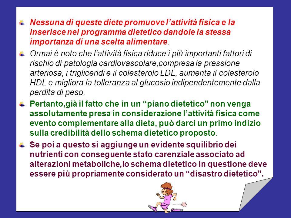 Nessuna di queste diete promuove l'attività fisica e la inserisce nel programma dietetico dandole la stessa importanza di una scelta alimentare.