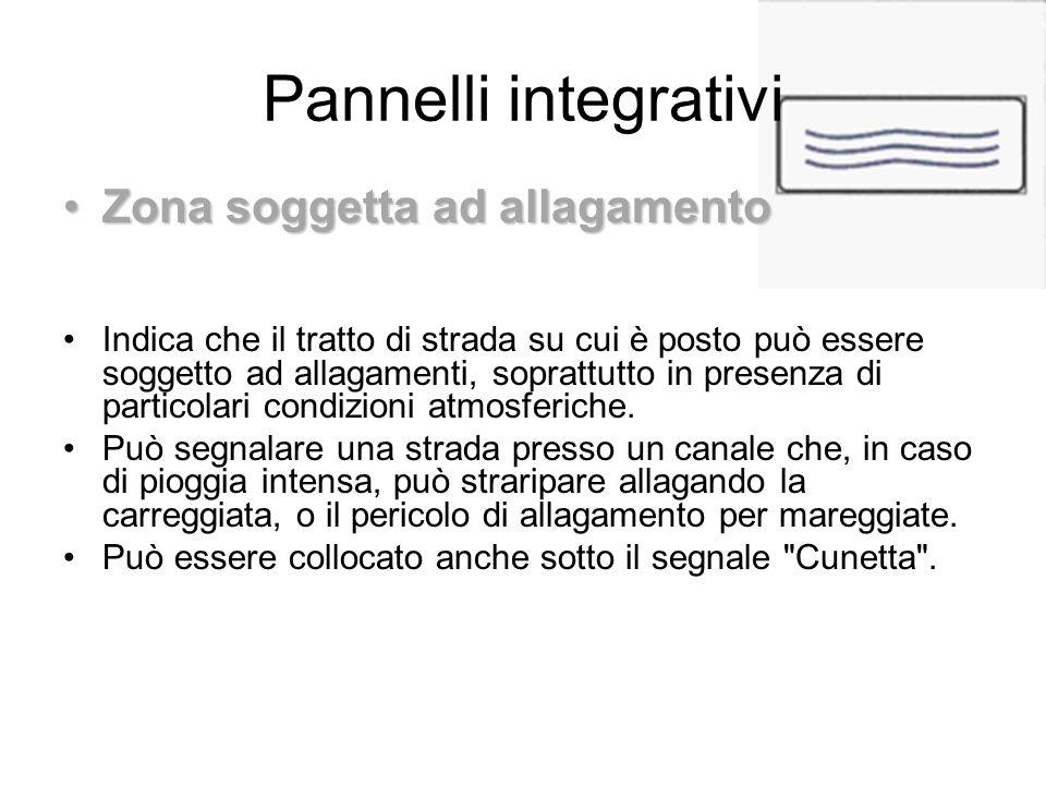 Pannelli integrativi Zona soggetta ad allagamento