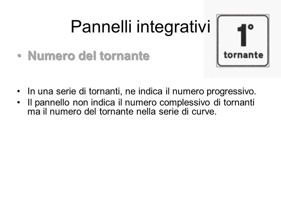 Pannelli integrativi Numero del tornante