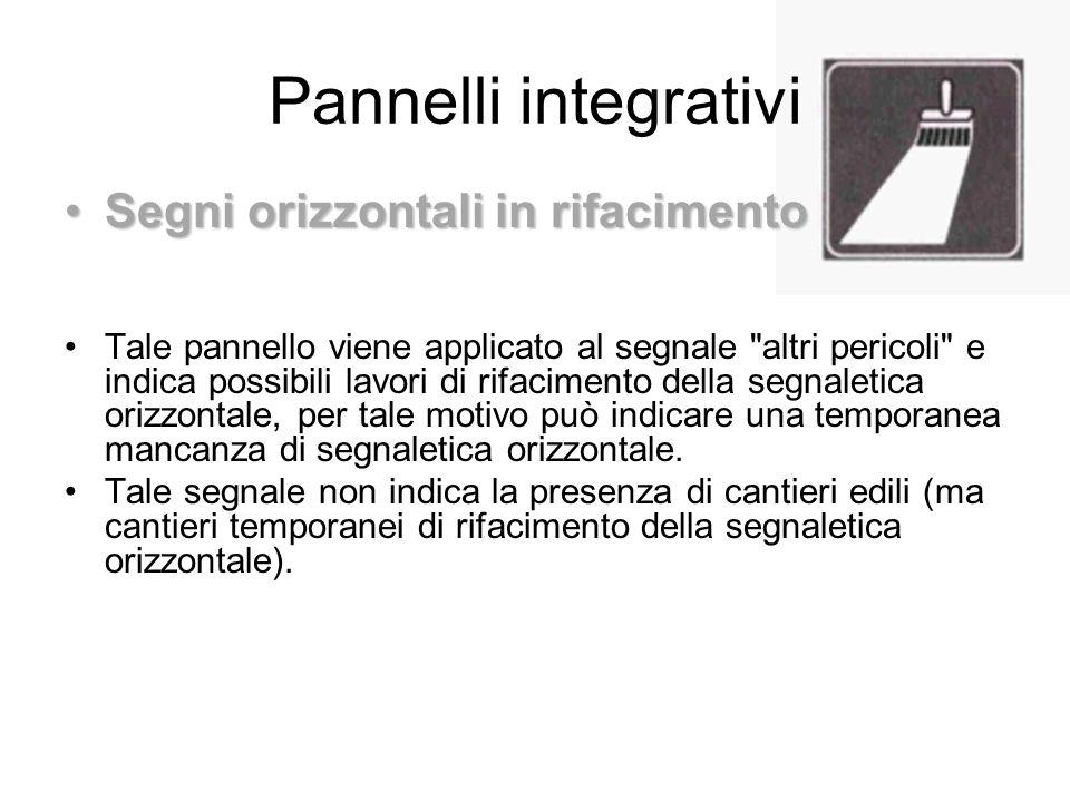 Pannelli integrativi Segni orizzontali in rifacimento