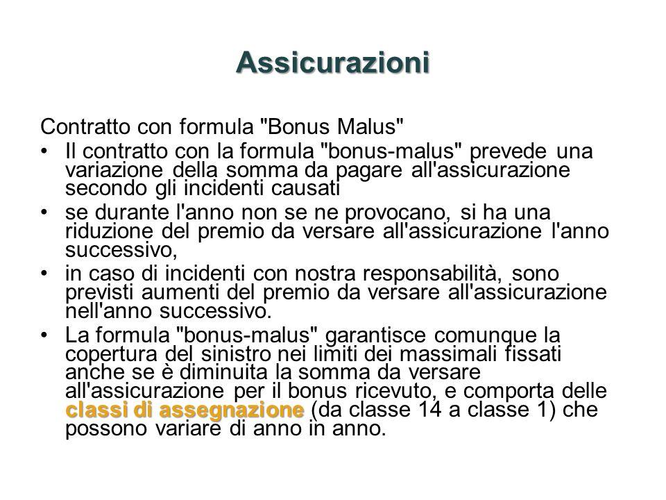 Assicurazioni Contratto con formula Bonus Malus