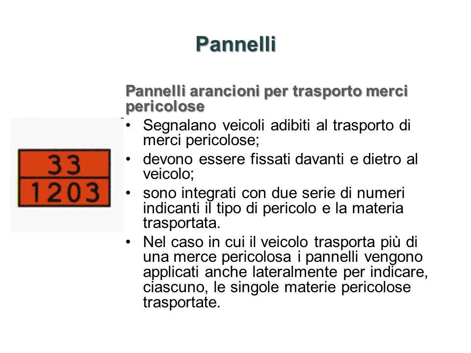 Pannelli Pannelli arancioni per trasporto merci pericolose