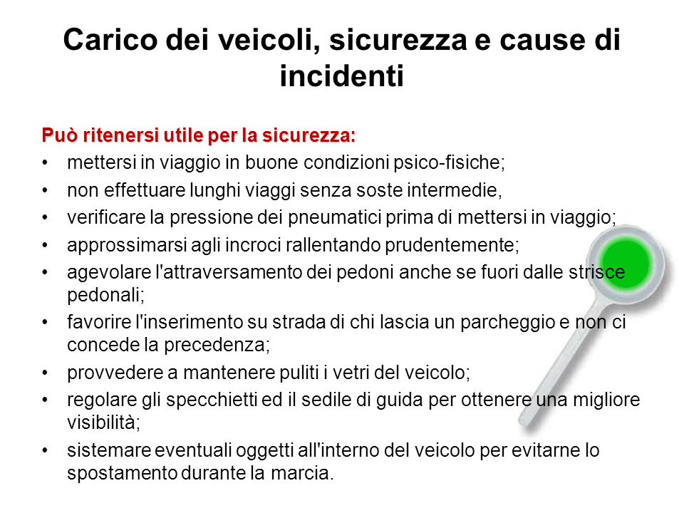 Carico dei veicoli, sicurezza e cause di incidenti