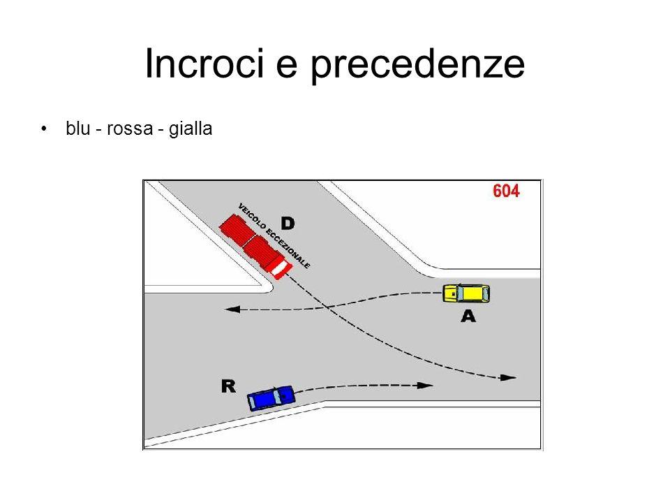 Incroci e precedenze blu - rossa - gialla