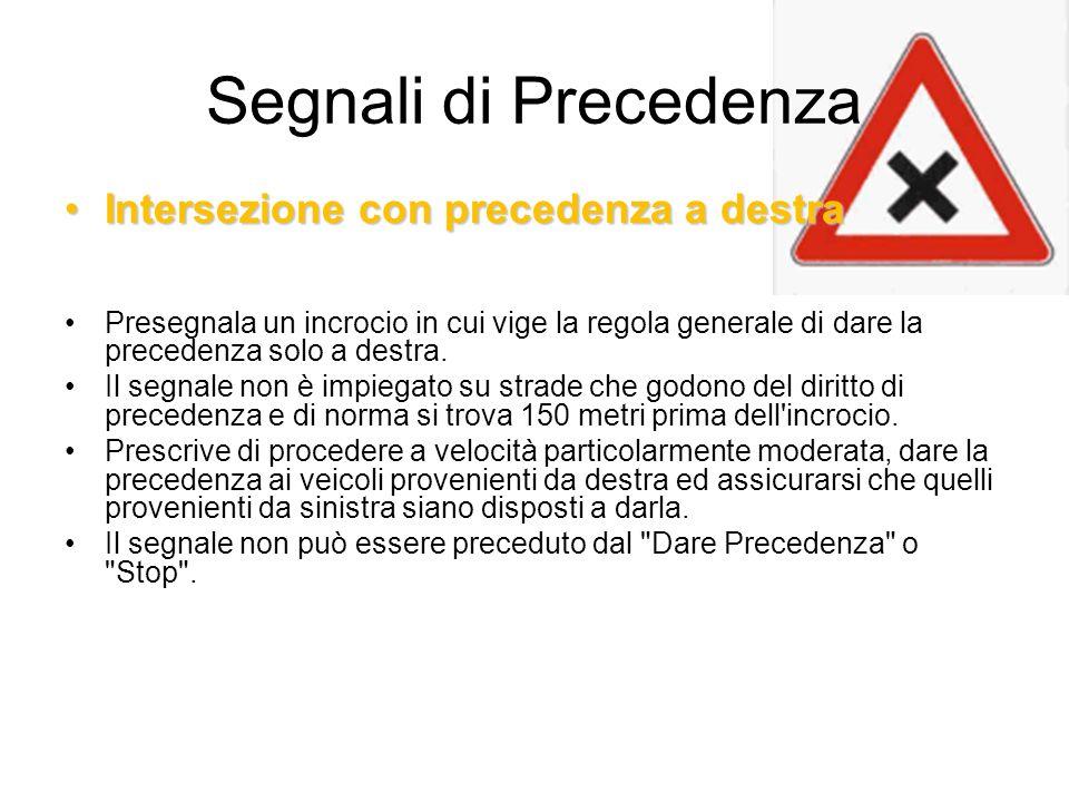 Segnali di Precedenza Intersezione con precedenza a destra