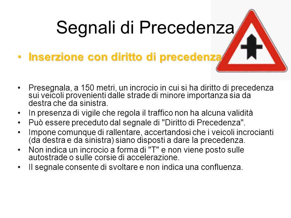 Segnali di Precedenza Inserzione con diritto di precedenza