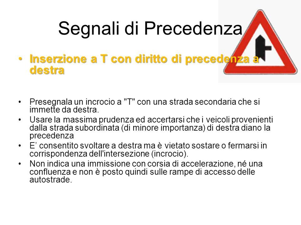Segnali di Precedenza Inserzione a T con diritto di precedenza a destra.