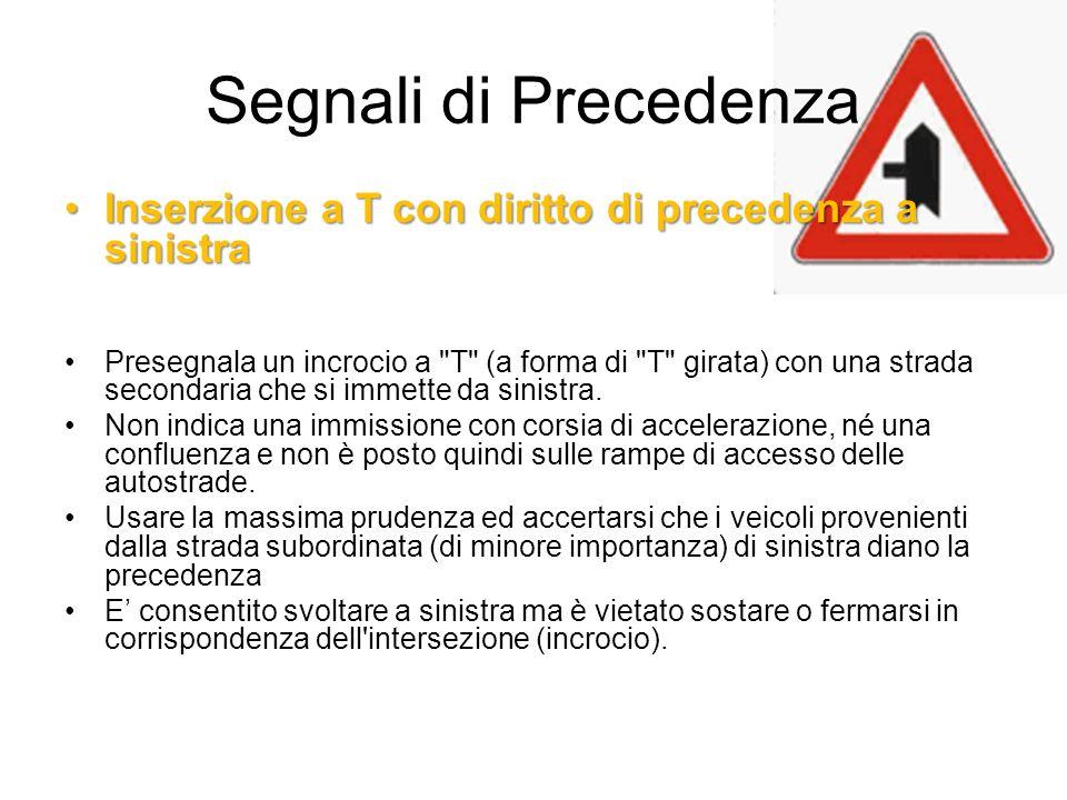 Segnali di Precedenza Inserzione a T con diritto di precedenza a sinistra.
