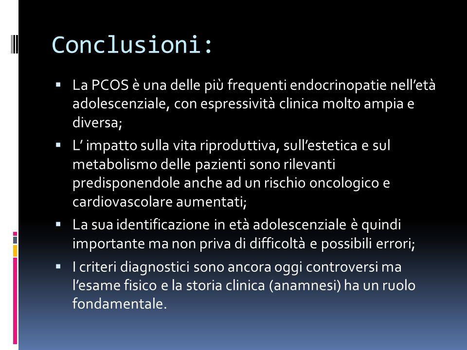 Conclusioni: La PCOS è una delle più frequenti endocrinopatie nell'età adolescenziale, con espressività clinica molto ampia e diversa;
