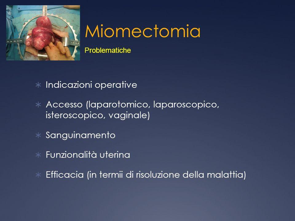 Miomectomia Indicazioni operative