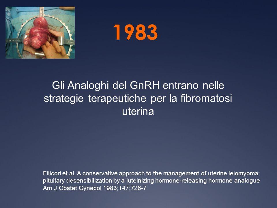 1983 Gli Analoghi del GnRH entrano nelle strategie terapeutiche per la fibromatosi uterina.