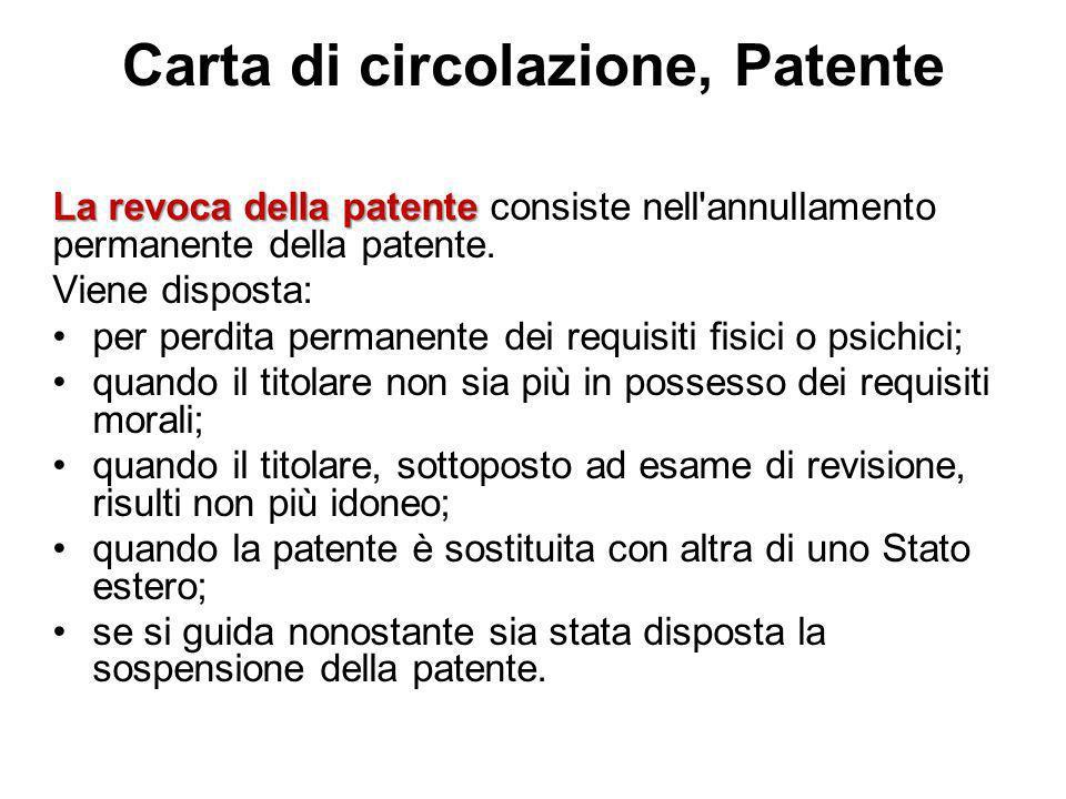 Carta di circolazione, Patente