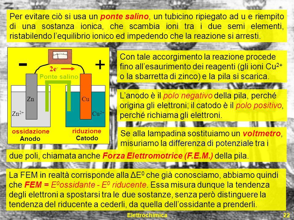 Per evitare ciò si usa un ponte salino, un tubicino ripiegato ad u e riempito di una sostanza ionica, che scambia ioni tra i due semi elementi, ristabilendo l'equilibrio ionico ed impedendo che la reazione si arresti.