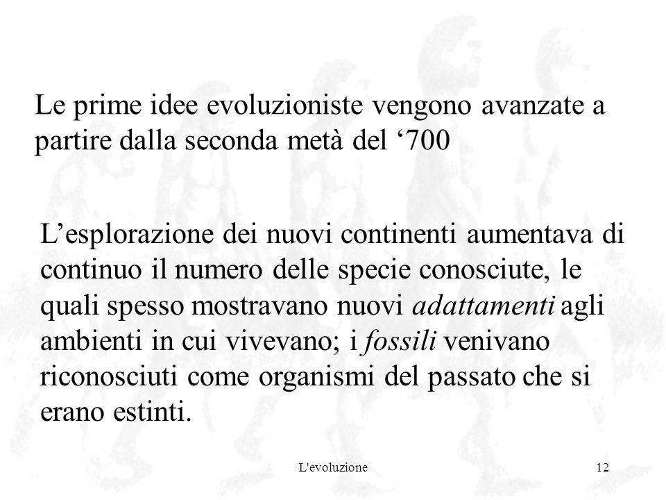 Le prime idee evoluzioniste vengono avanzate a partire dalla seconda metà del '700